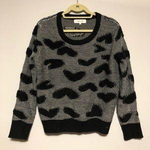 Jonh + Jen Heart Print Long Sleeve Crew Neck Sweater Top Large